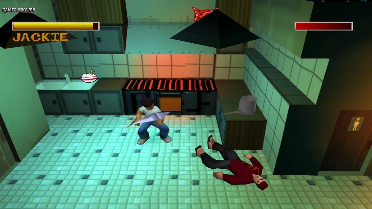 Jackie Chan Stuntmaster - Jackie segurando um peixe para abater um capanga na cozinha