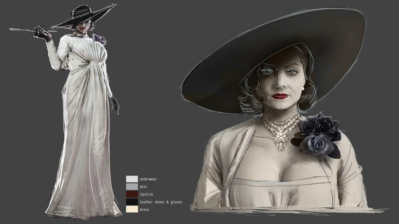 Esboço de Lady Dimitrescu, nova vilã de Resident Evil Village