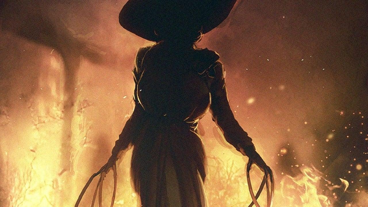 Silhueta de lady Dimitrescu, vilã de Resident Evil Village, em meio ao fogo