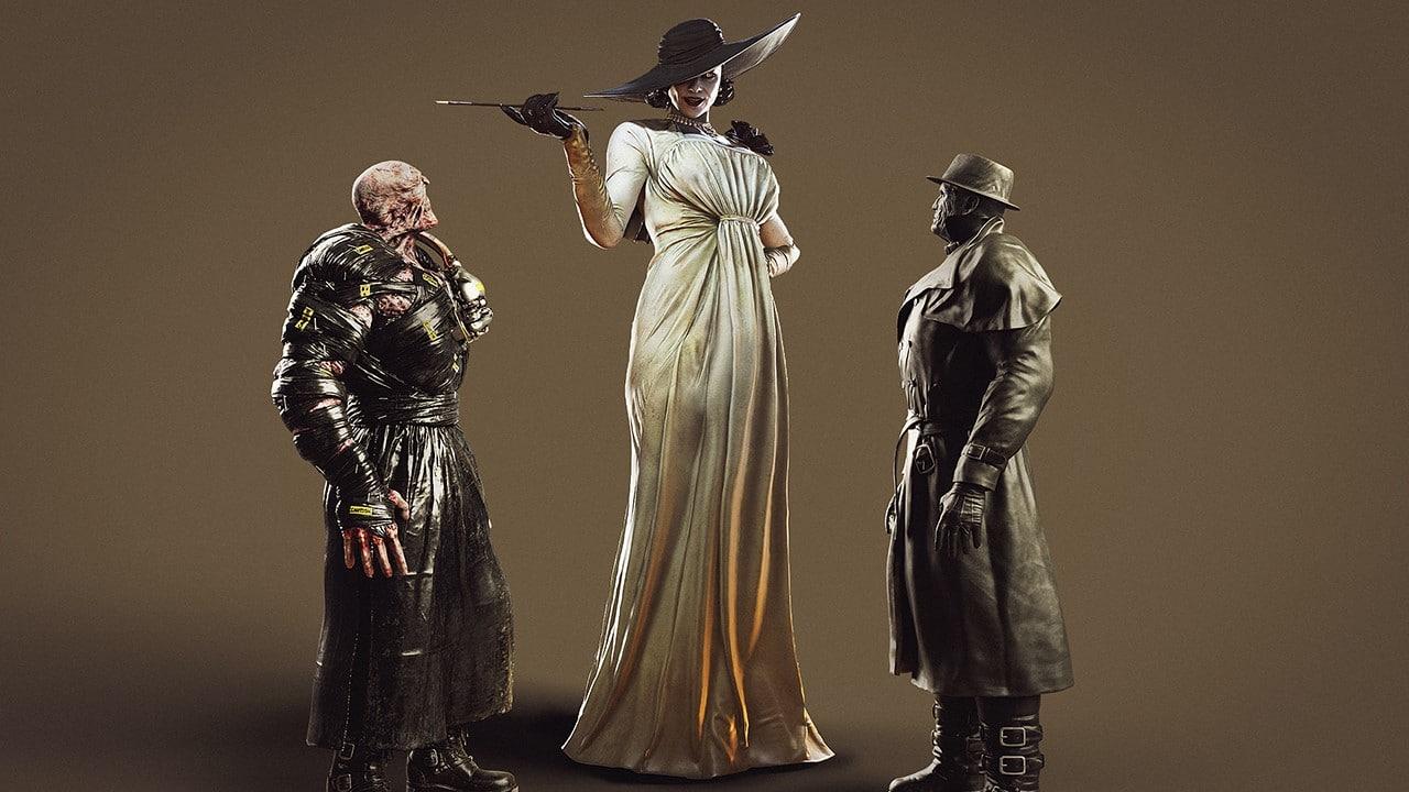 Nemesis, Mr. X e Lady Dimitrescu, nova vilã de Resident Evil Village, comparando a altura com os outros dois monstros.
