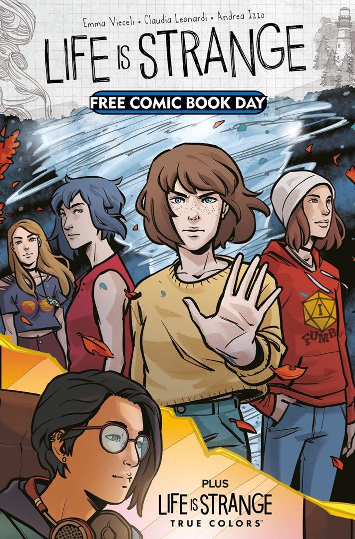 Capa da HQ que contará a história de Life is Strange: True Colors. A imagem mostra as personagens da franquia, como Max Caulfield, Chloe Price, Rachel Amber e Alex Chen.