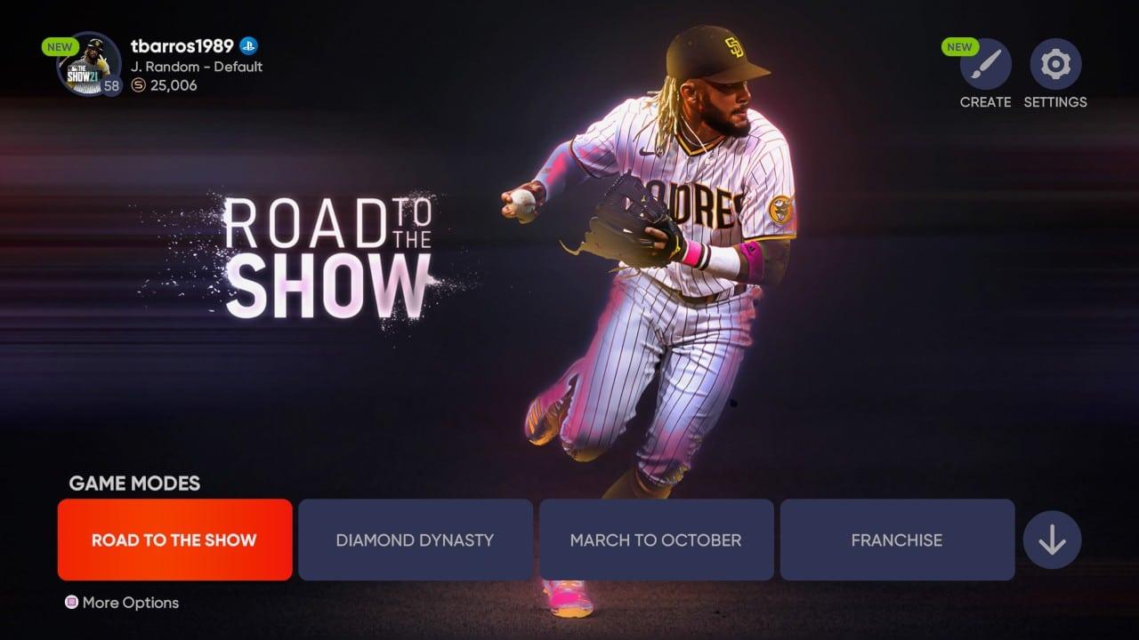 Menus de MLB The Show 21 com opções de jogo