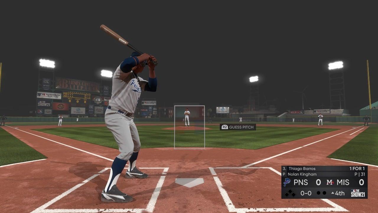 Rebatedor com taco de baseball no jogo MLB The Show 21