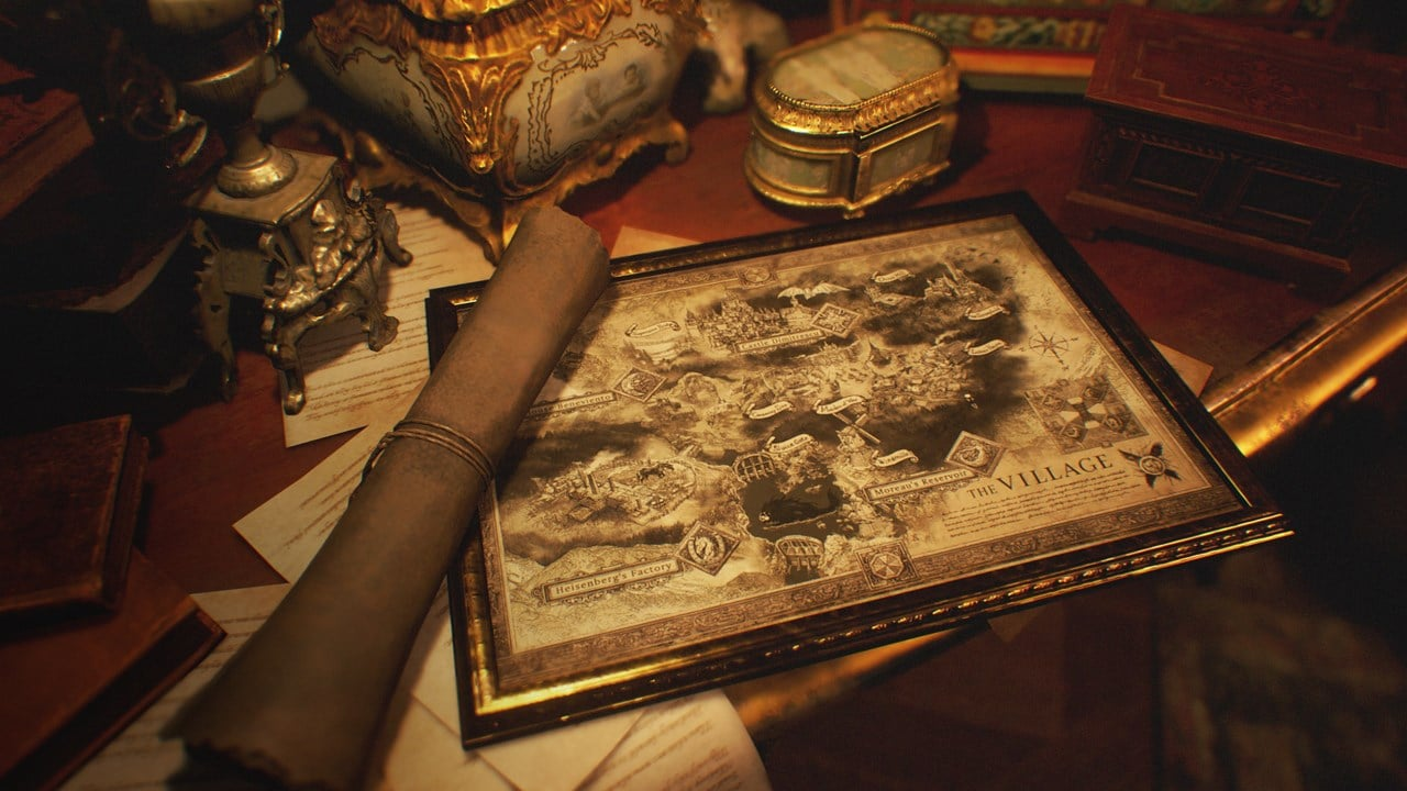 Mapa Resident Evil Village em cima de uma mesa.