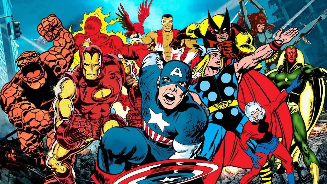 Imagem de capa com diversos heróis da Marvel, com oCapitão América na frente