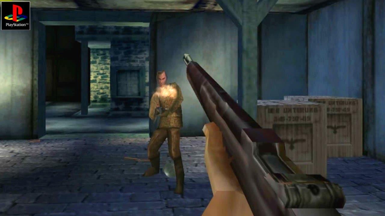 Medal of Honor PlayStation 1 - Jogador com arma mirando em inimigo durante jogatina