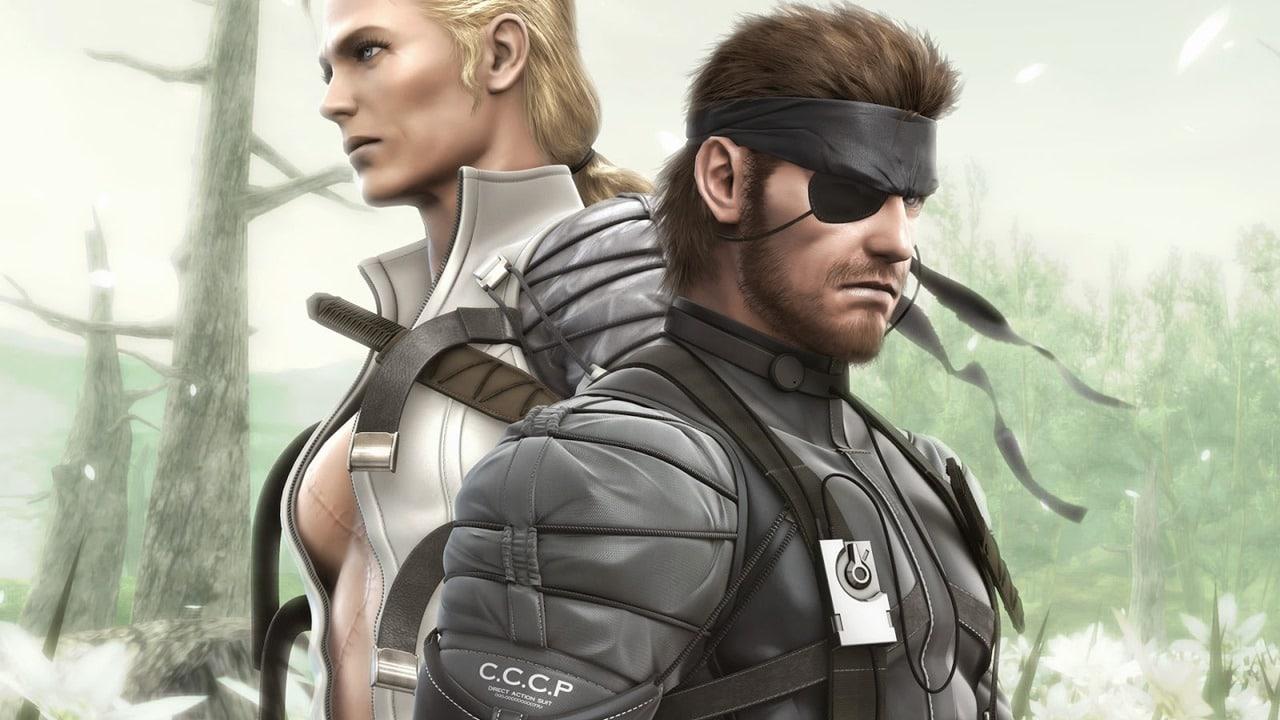 Imagem de Metal Gear 3 Snake Eater, jogo de PlayStation 2, com Naked Snake e a personagem The Boss, com fundo verde claro.