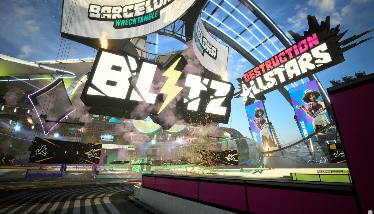 Imagem do modo Blitz de Destruction AllStars com uma pista ilustrando a foto, a logo do jogo e diversos componentes do cenário do game