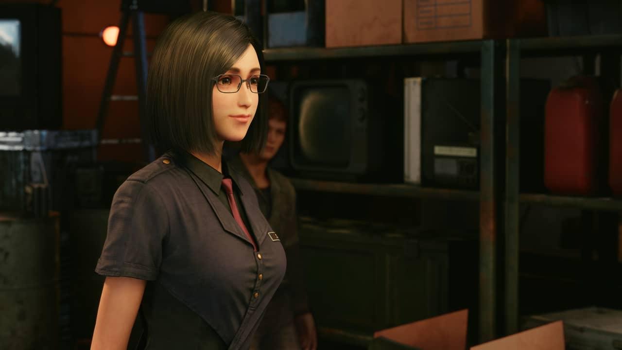 Imagem da personagem Naro sorrindo em em Final Fantasy VII Remake