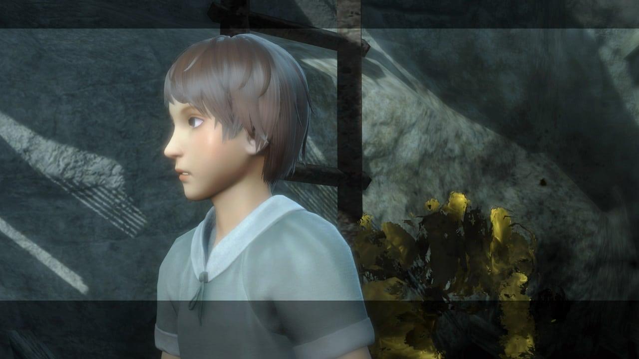 Imagem que tem uma criança e um monstro amarelo no jogo NieR Replicant