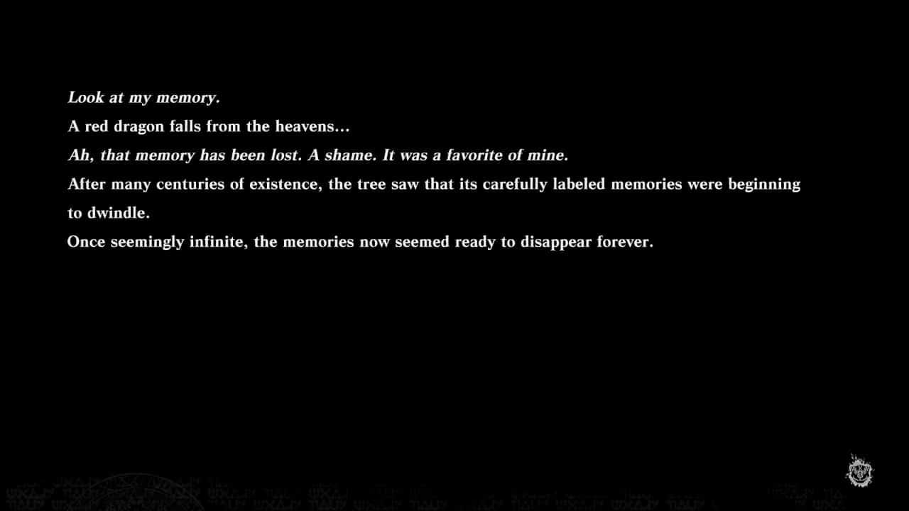 Tela de texto do jogo NieR Replicant