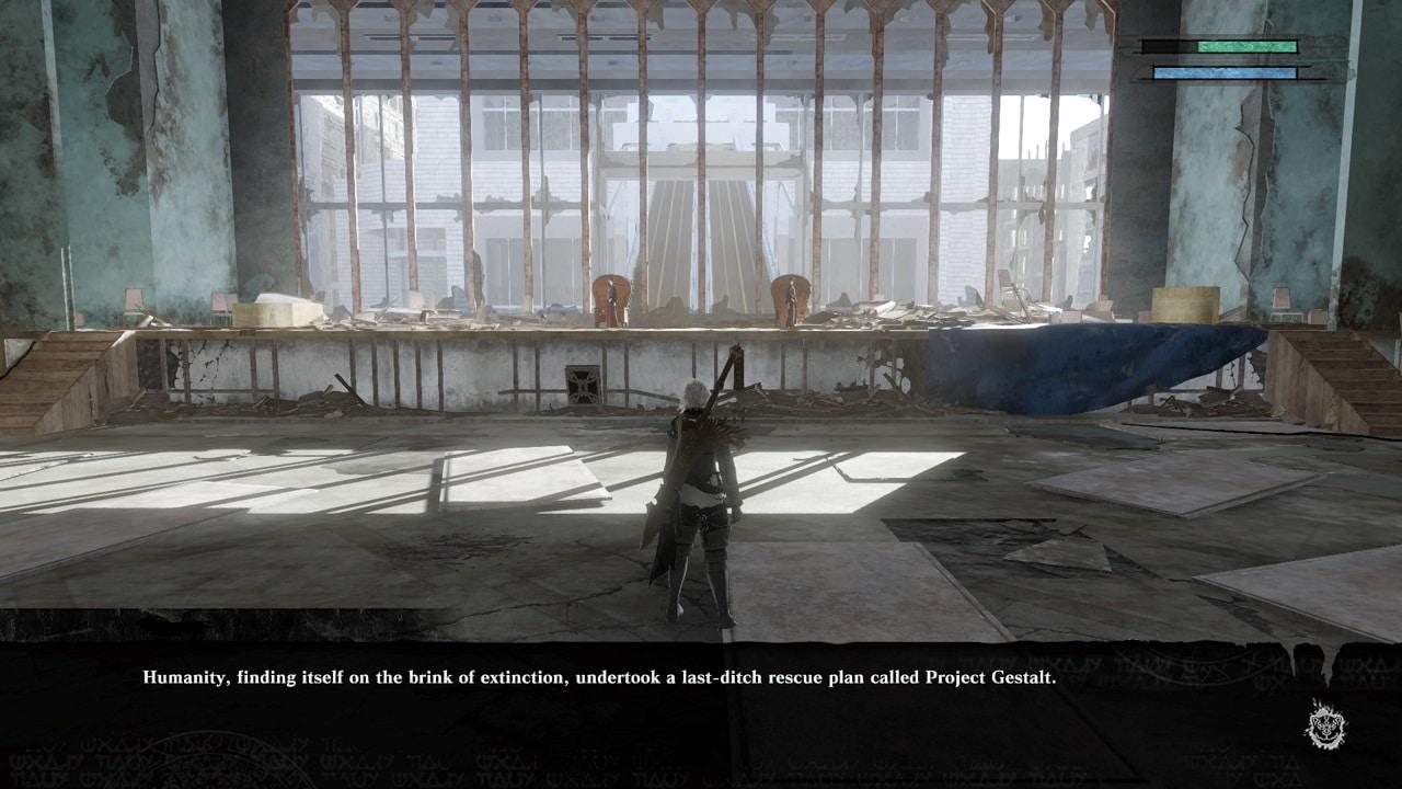 Imagem de NieR Replicant que mostra o protagonista conversando com outros dois personagens em uma grande sala