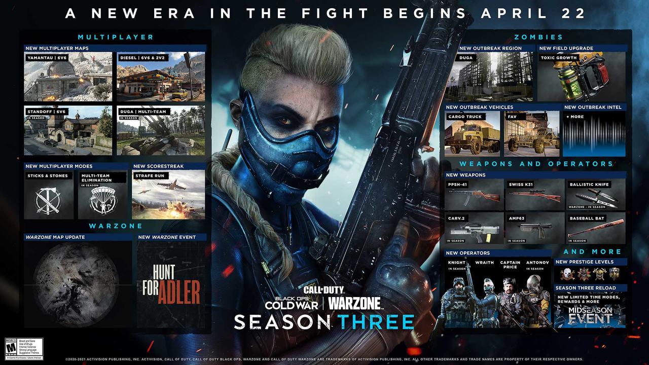 Imagem de capa com todos os conteúdos da 3ª temporada de Black Ops Cold War e Warzone