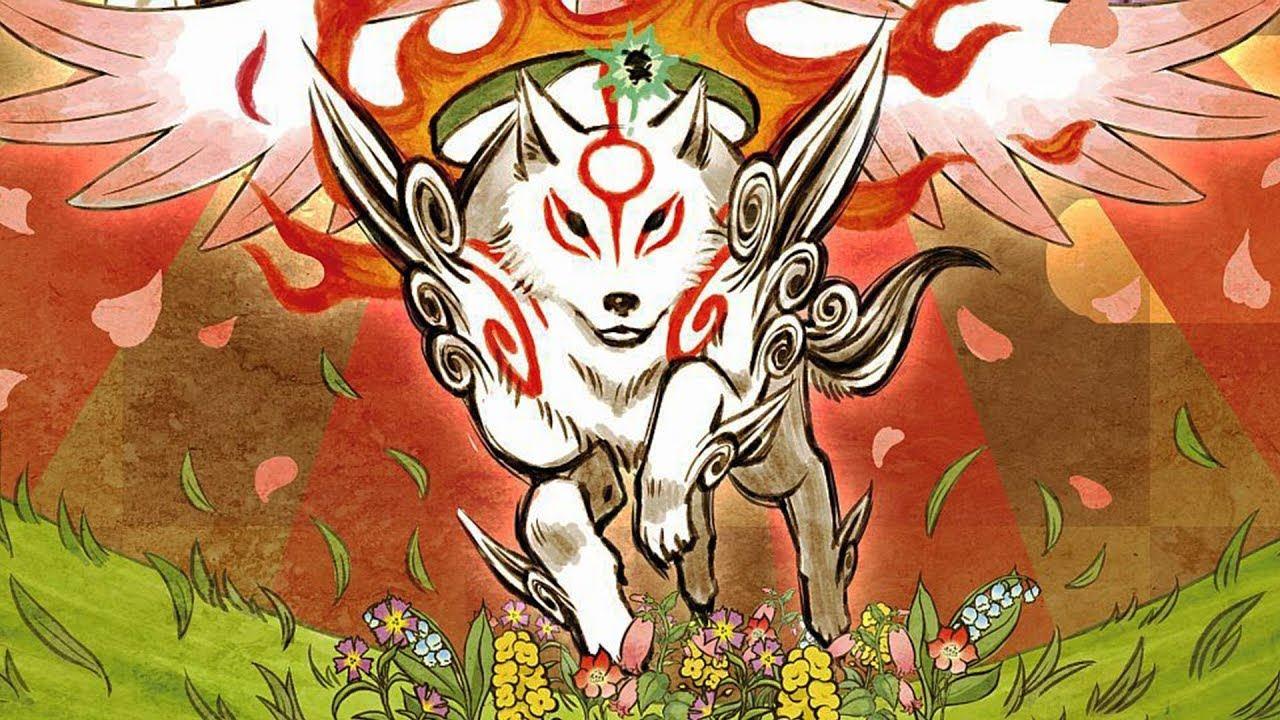 Okami, jogo de PlayStation 2, apresentando a raposa da mitologia japonesa com fundo colorido.
