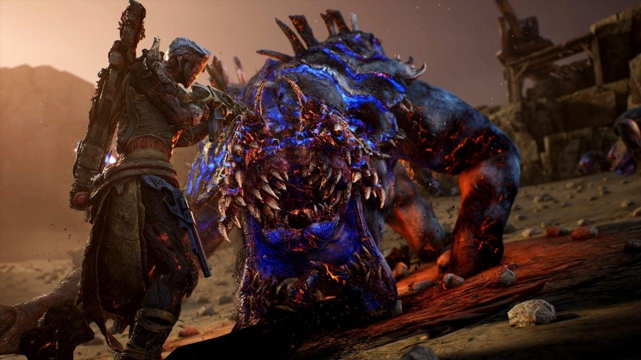 Personagem de Outriders enfrentando um boss do game.
