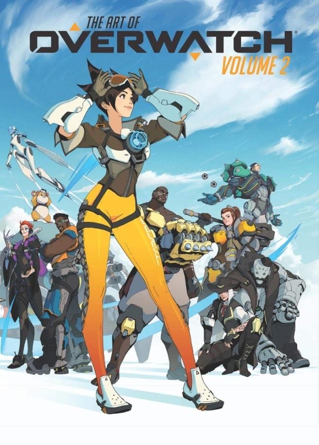 Capa do novo artbook de Overwatch, com personagens do jogo desenhados nela.