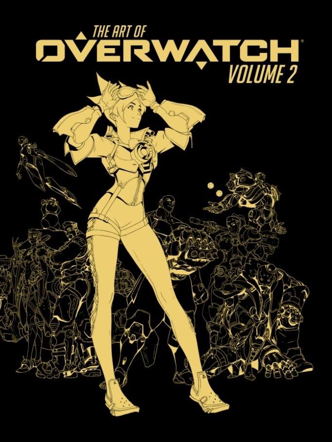 Capa da edição deluxe do novo artbook de Overwatch, com personagens desenhados em dourado e fundo preto.