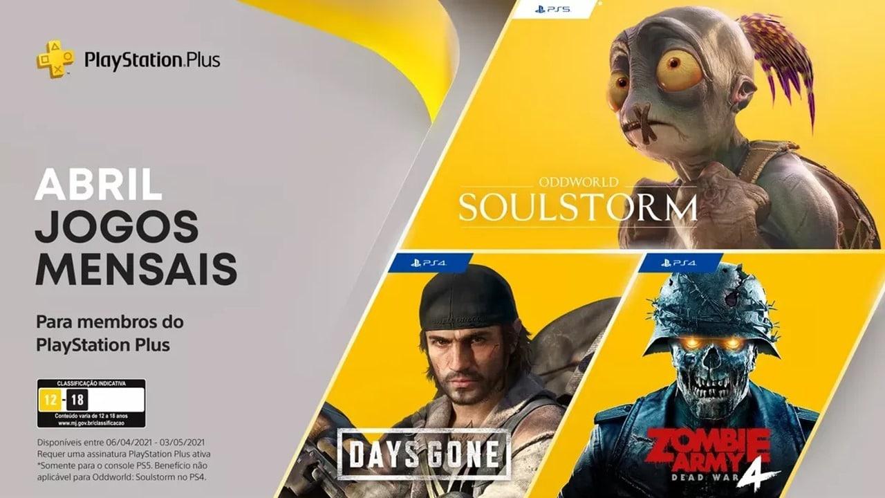 Títulos da PS Plus de abril com os personagens dos jogos.
