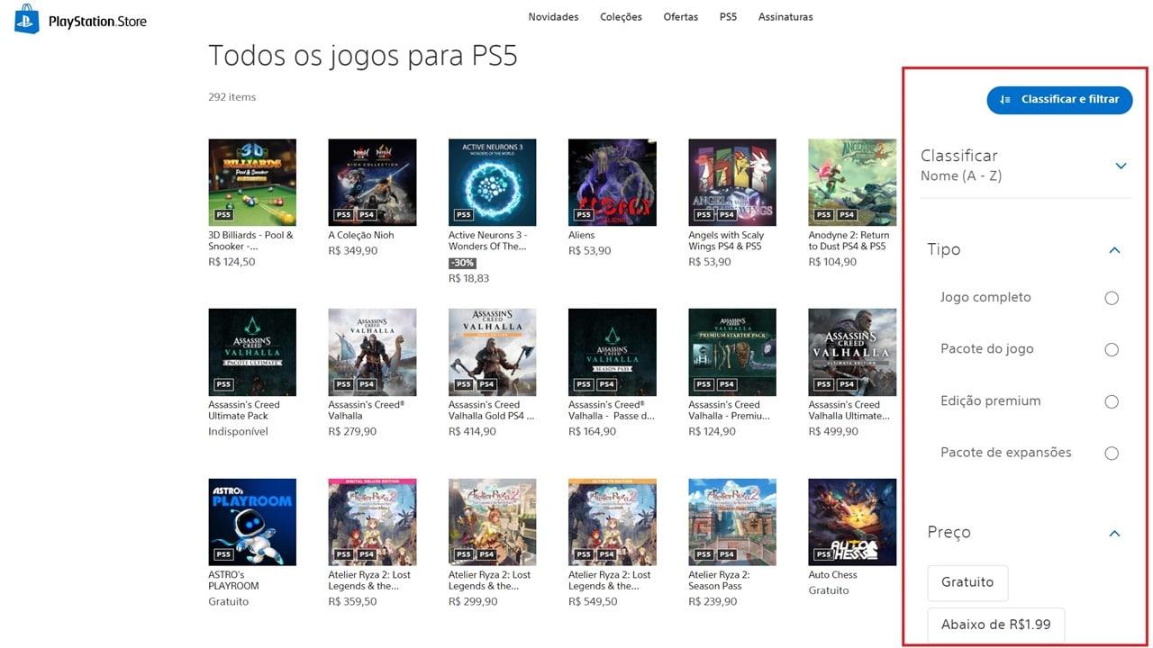 Página da PS Store com vários jogos da plataforma e a nova opção de filtragem.