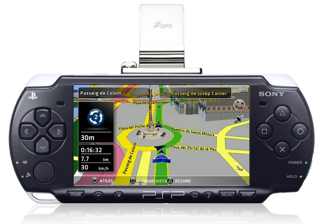 Imagem de um PSP com um conector GPS