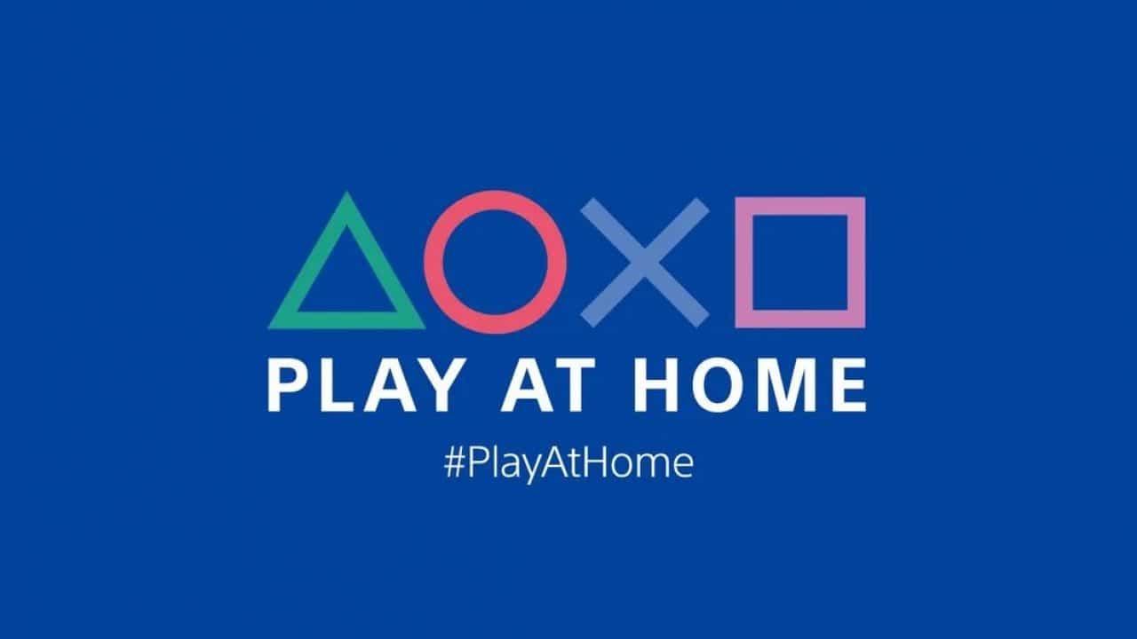 Imagem de capa da logo da iniciativa Play at Home, em um fundo azul escuro