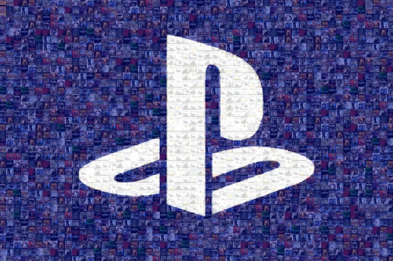 Logo da PlayStation com vários jogos da empresa, incluindo títulos do PSP.