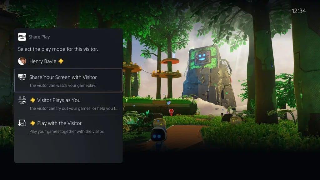 Menus do PlayStation 5 com jogo Astro's Playroom ao fundo