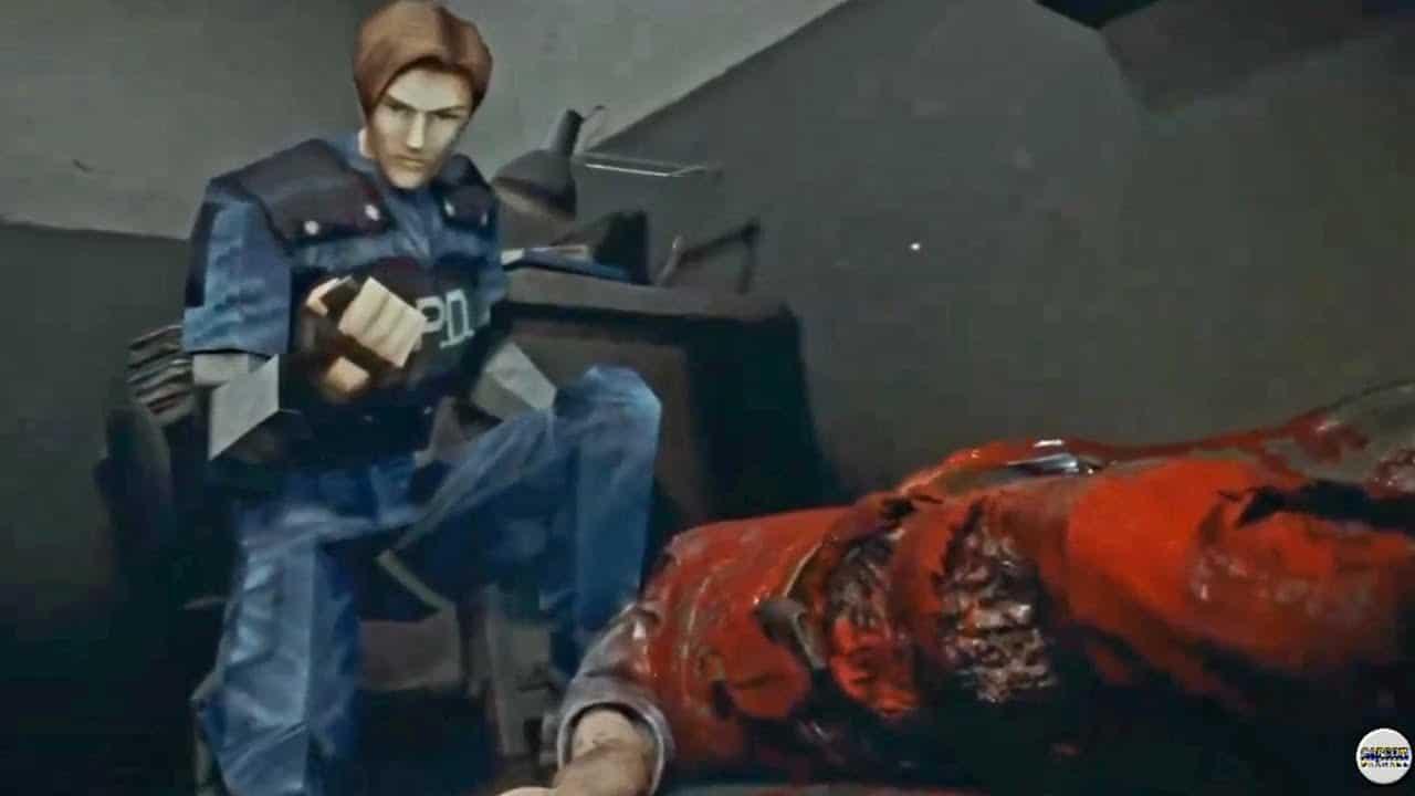 Resident Evil 2 - PlayStation 1 - Leon ajoelhado vestido de policial