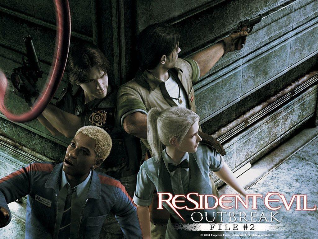 Personagens de Resident Evil Outbreak, jogo de PlayStation 2, em posição de alerta esperando o ataque inimigo.