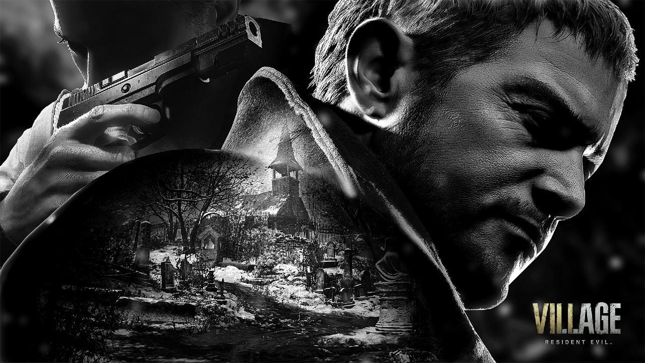 Chris Redfield e Ethan Winters de Resident Evil Village em uma imagem preta e branca com o vilarejo ao meio.
