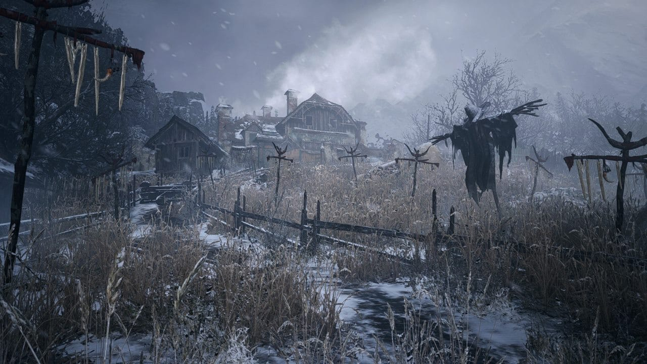Campo de trigo nevado no vilarejo de Resident Evil Village