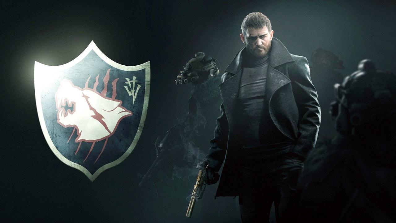 Chris Redfield cercado pelos seus soldados em Resident Evil Village
