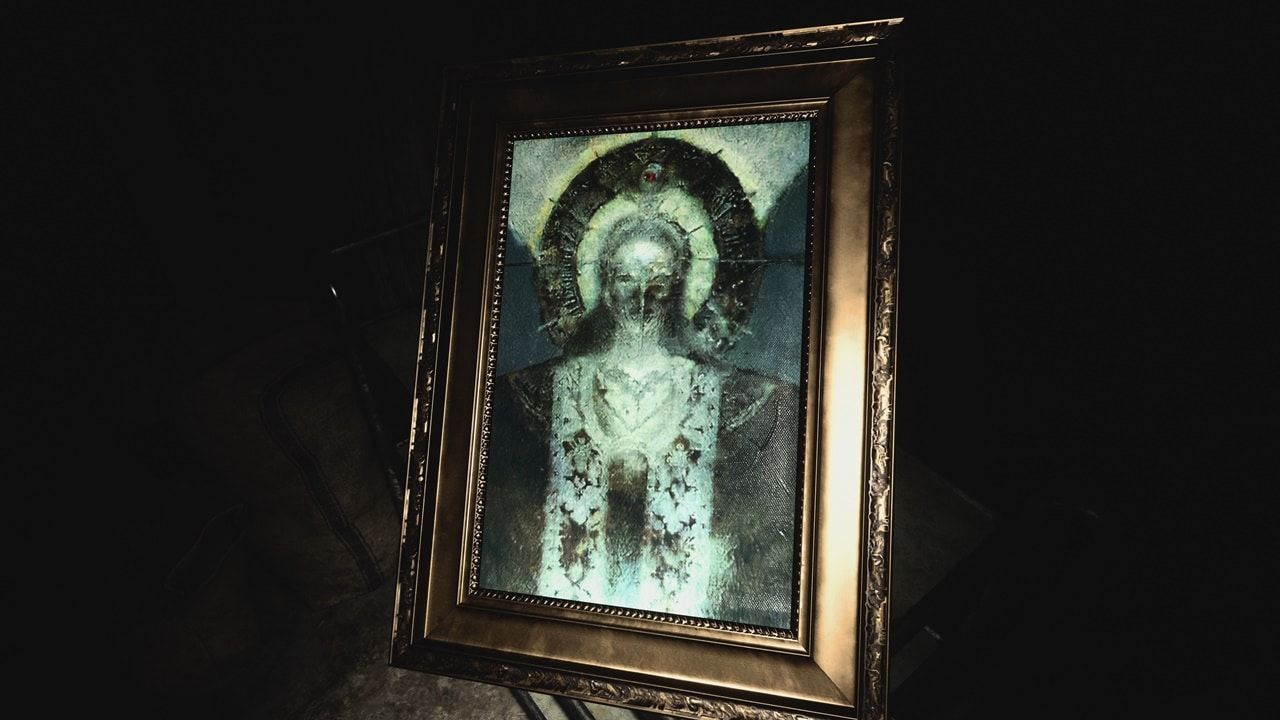 Retrato da vilã Madre Miranda em Resident Evil Village.