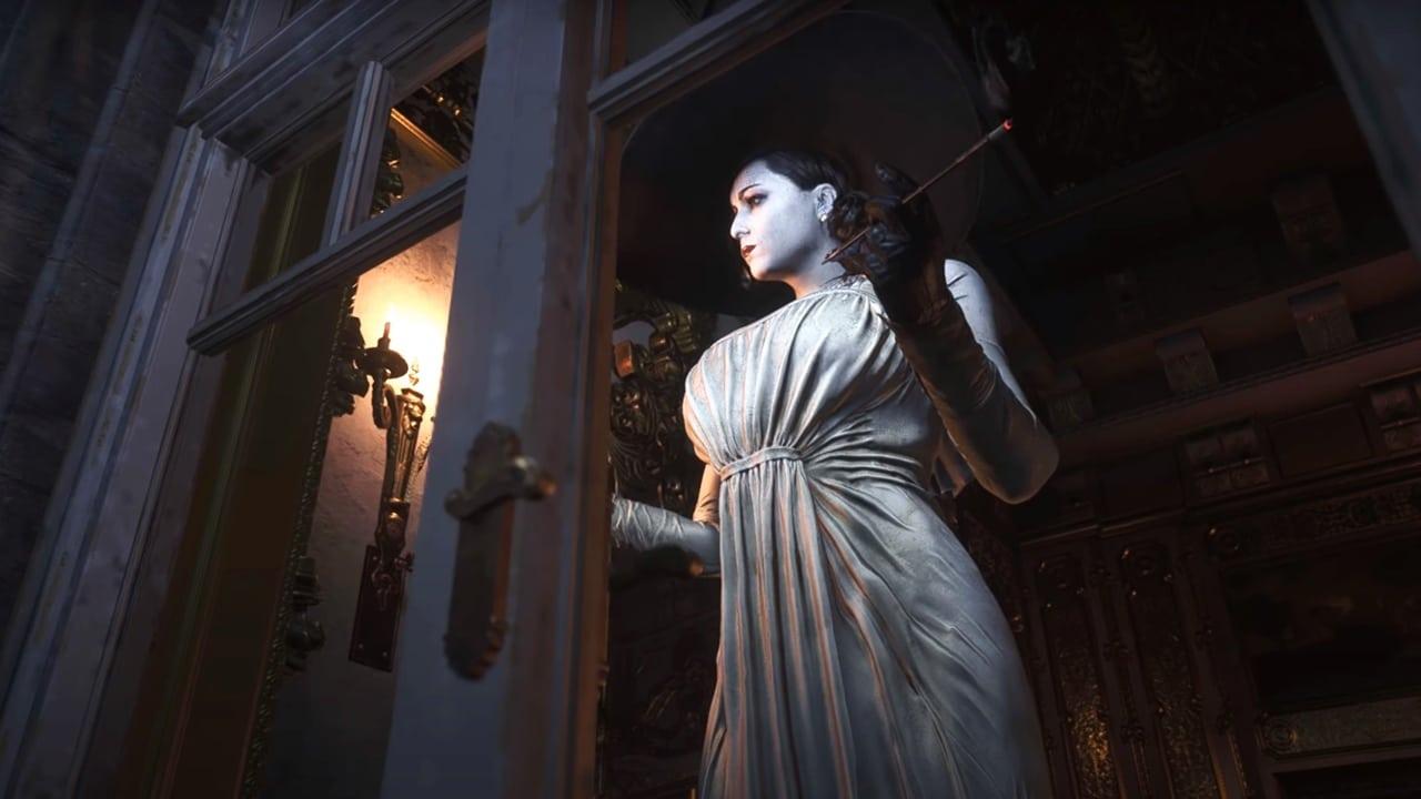 Lady Dimitrescu, vilã de Resident Evil Village, em seu quarto.