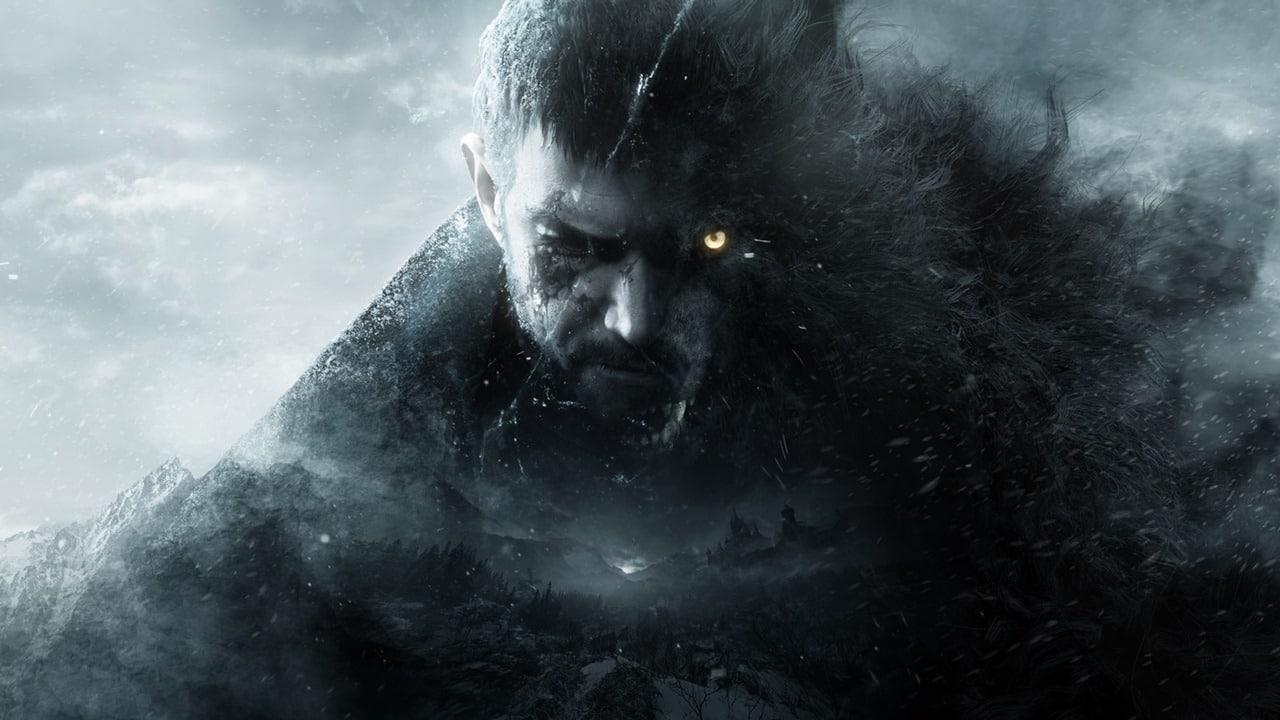 Chris Redfield em material promocional de Resident Evil Village com metade do rosto de um lobo.
