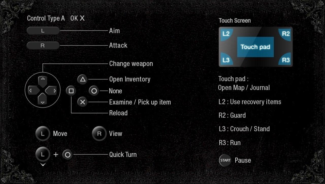 Leyout de controles de Resident Evil Village no PS Vita