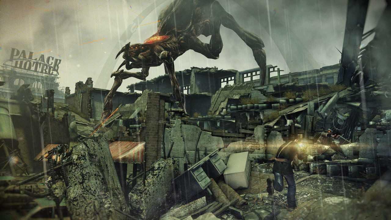 Ambiente destroçado e monstro de Resistance 3