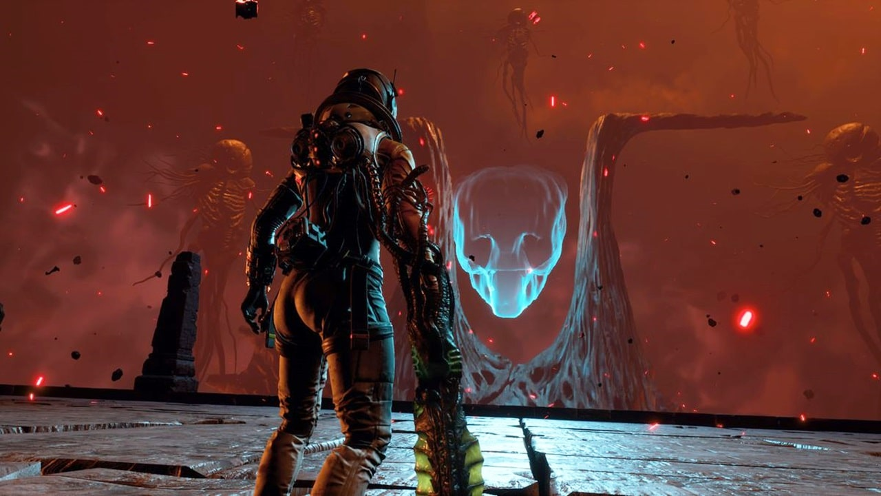 Selene, protagonista de Reaturnal, olhando para um holograma de alien no planeta Atropos