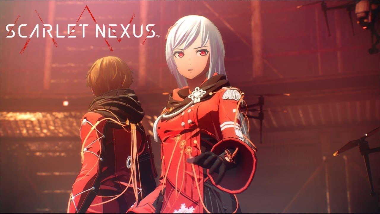 Imagem de capa da protagonista Kasane do jogo Scarlet Nexus, com a logo do game ao lado