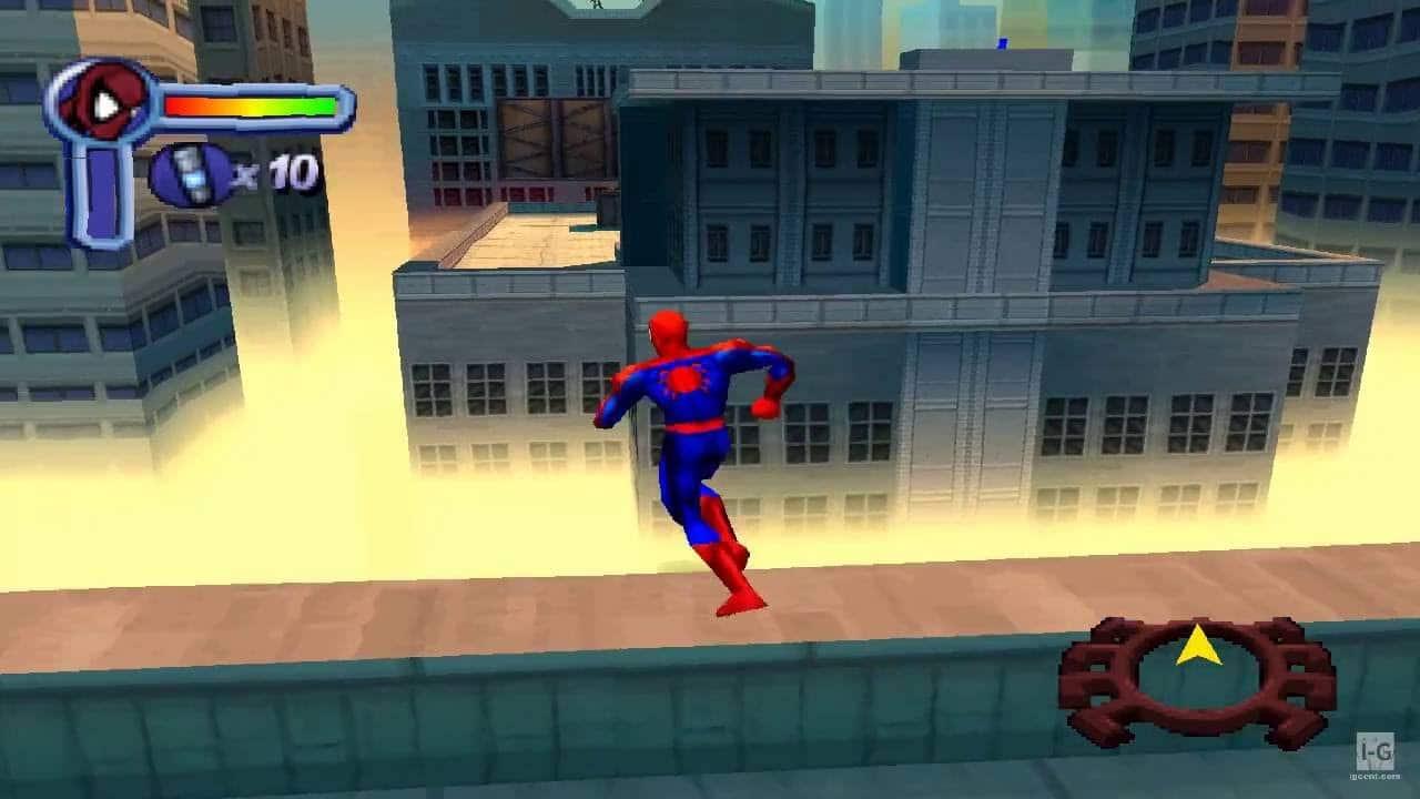 Spider Man PlayStation 1 - Homem Aranha correndo em cima de um edifício