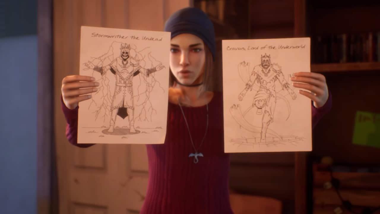 Steph - Life is Strange True Color - LiS True Colors - Personagem segurando dois cartazes com monstros de algum jogo que ela pode ter desenvolvido na faculdade de design de games