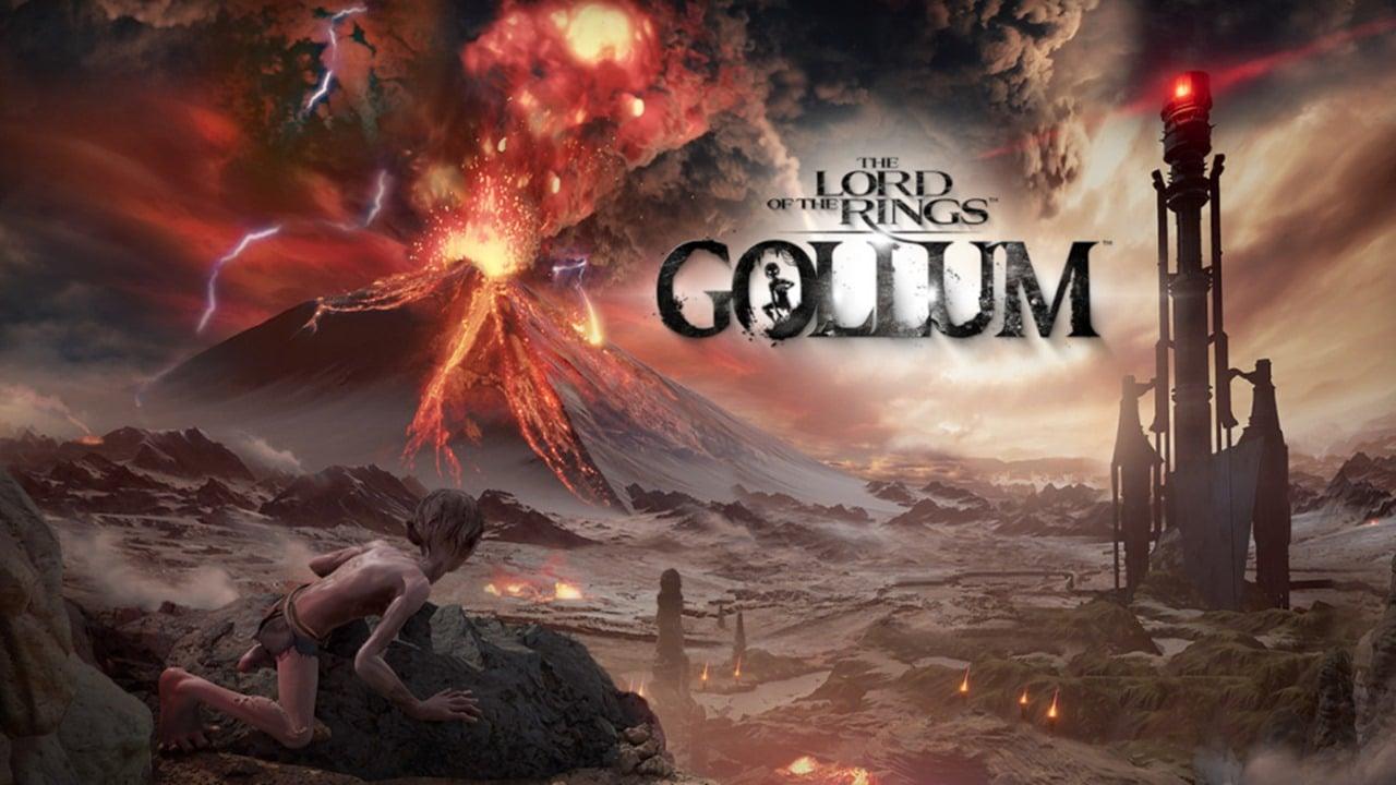Gollum olhando para um vulcão em erupção em The Lord of the Rings: Gollum
