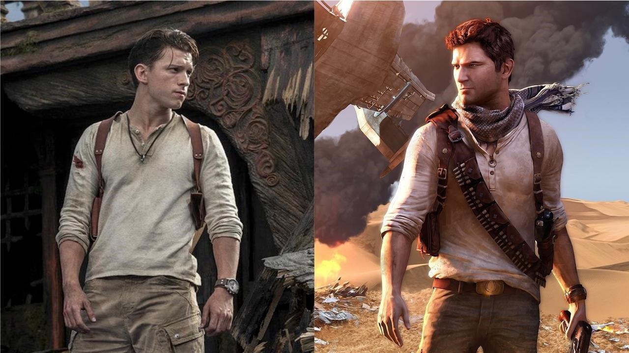 Tom Holland e seu personagem Nathan Drake no filme de Uncharted