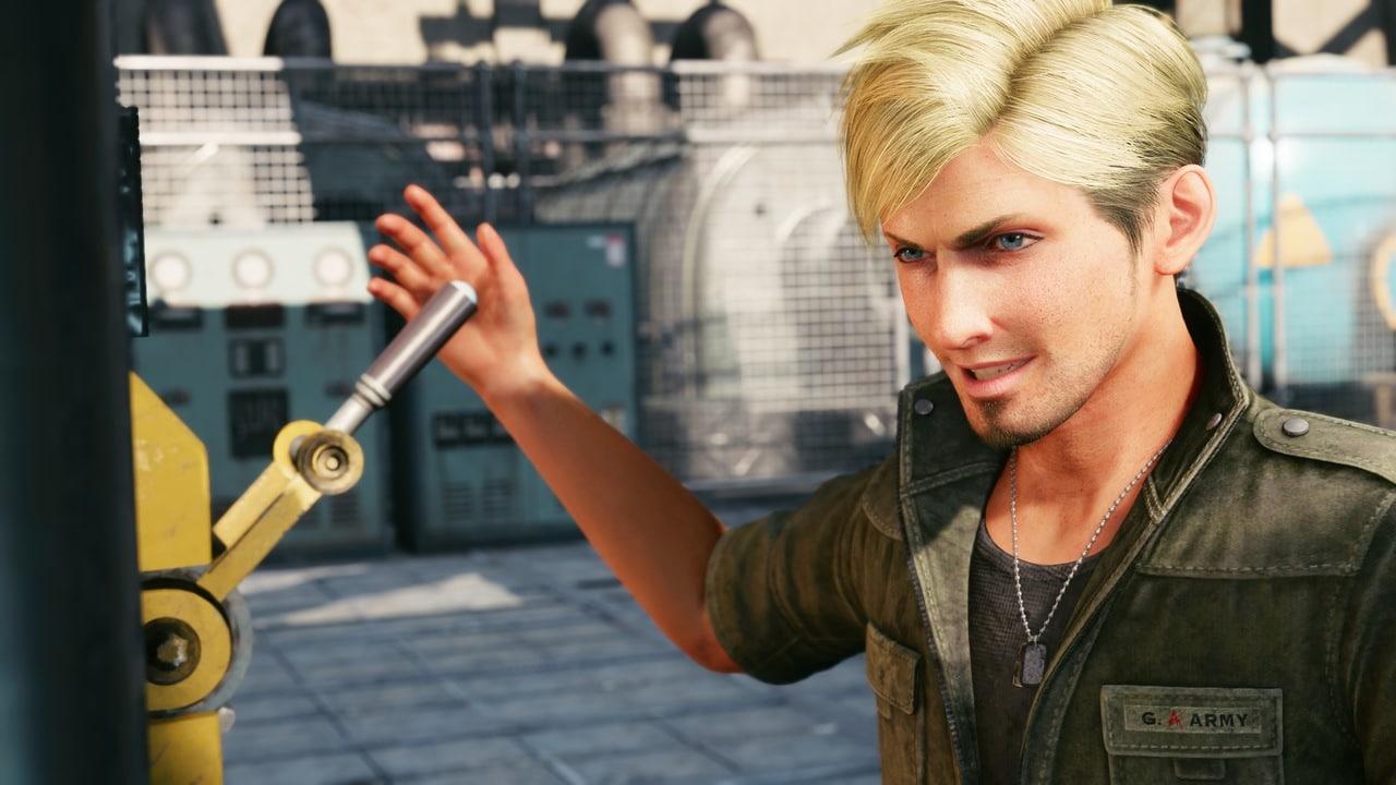 Imagem do personagem Zhijie sorrindo em Final Fantasy VII Remake