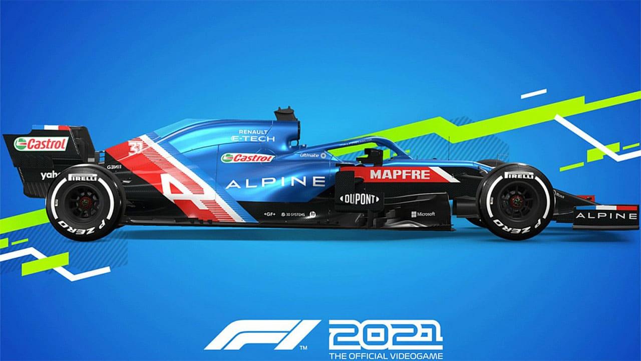 Carro de F1 2021 com pintura azul e vermelha e patrocinador estampados. Fundo Azul com a logo do novo jogo.