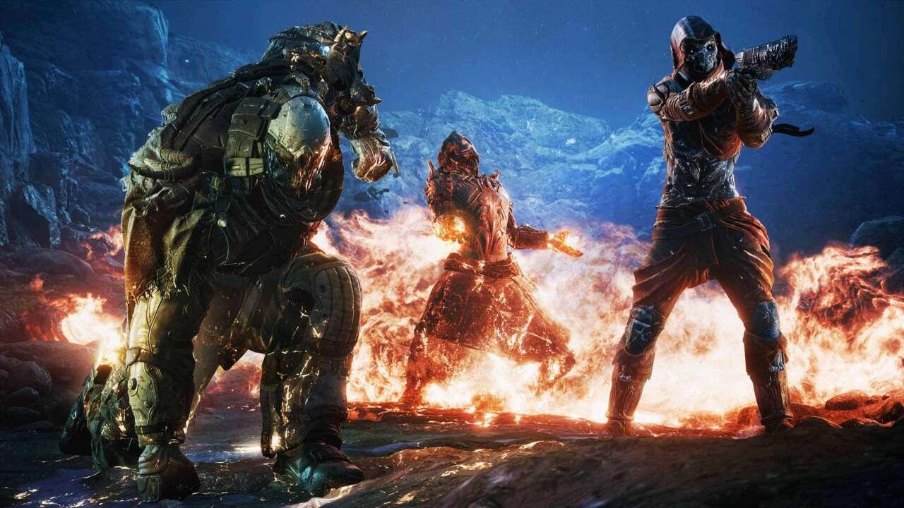 Imagem de três personagens usando poderes em Outriders
