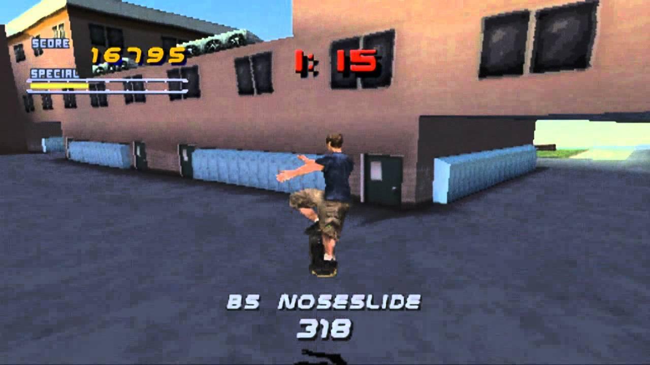 THPS - PlayStation 1 - Jogador voando no skate enquanto manda manobra