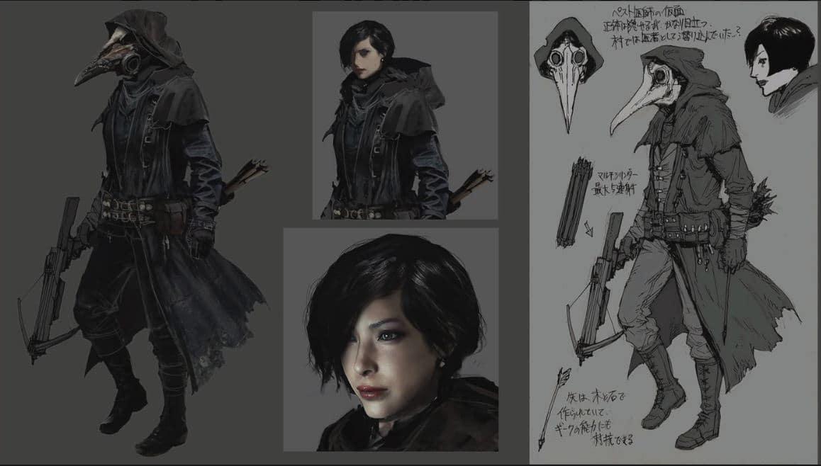 Ada Wong vestida como uma máscara, em Resident Evil Village