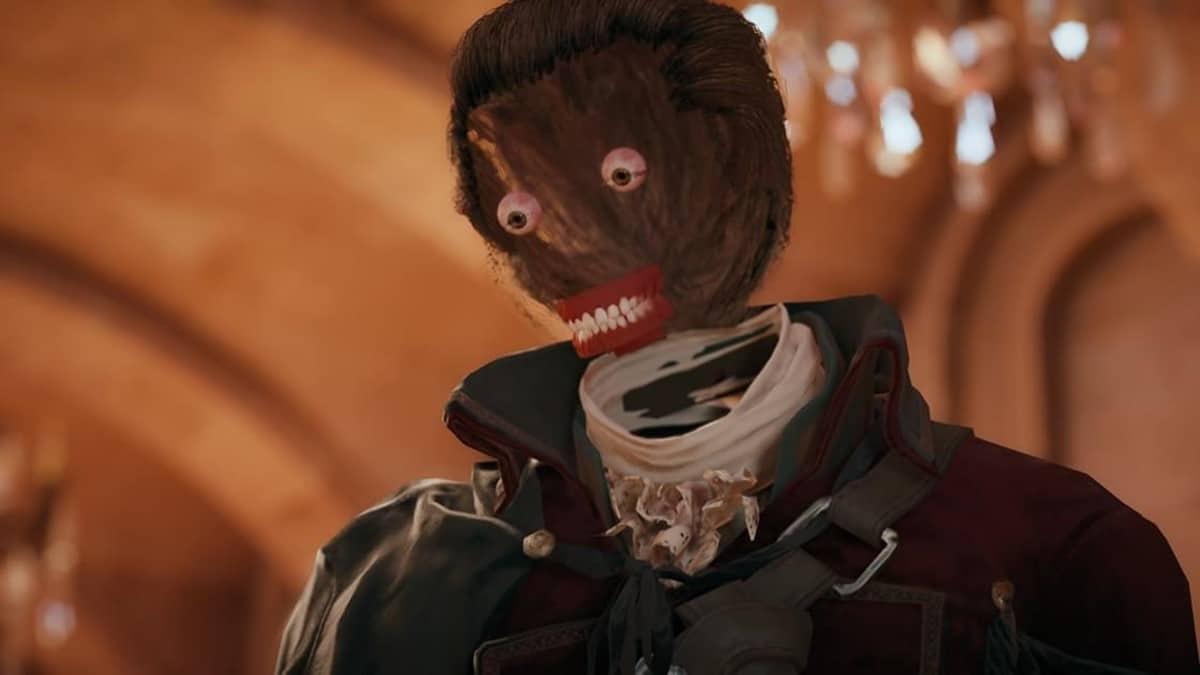 Arno de Assassin's Creed Unity com a face bugada