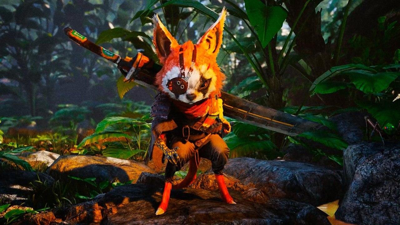 BioMutant - 10 dicas e truques para iniciantes - protagonista no meio da selva com uma espada nas costas